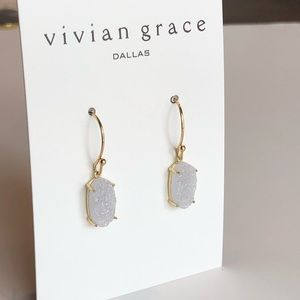 Jewelry - White Iridescent Drusy & 18k Gold Drop Earrings